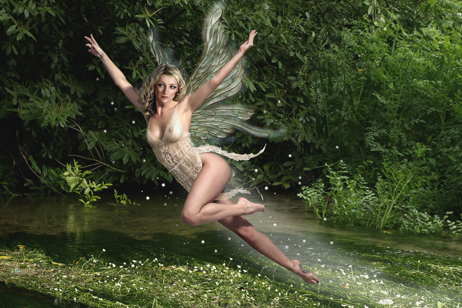 Photograph of fairy by river
